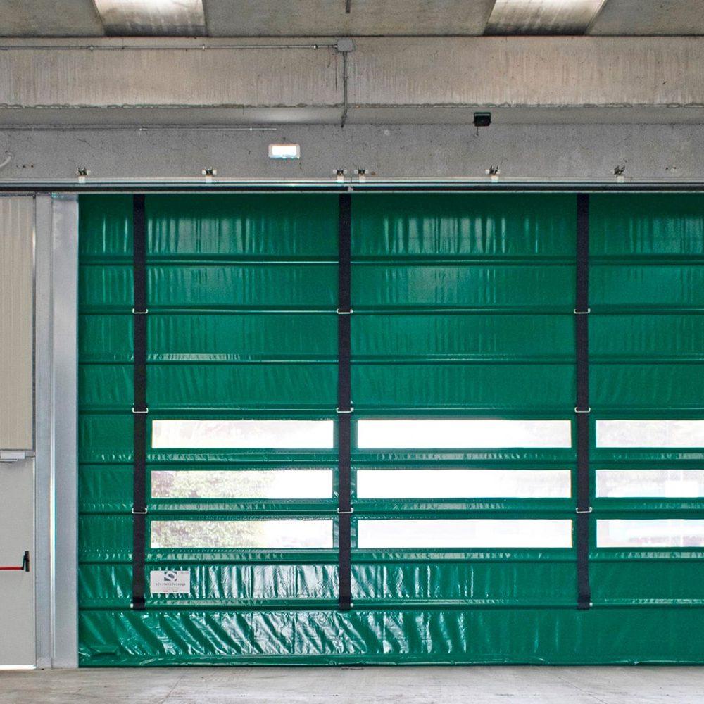 Porta rapida ad impacchettamento automatico E13 colore verde vista frontale